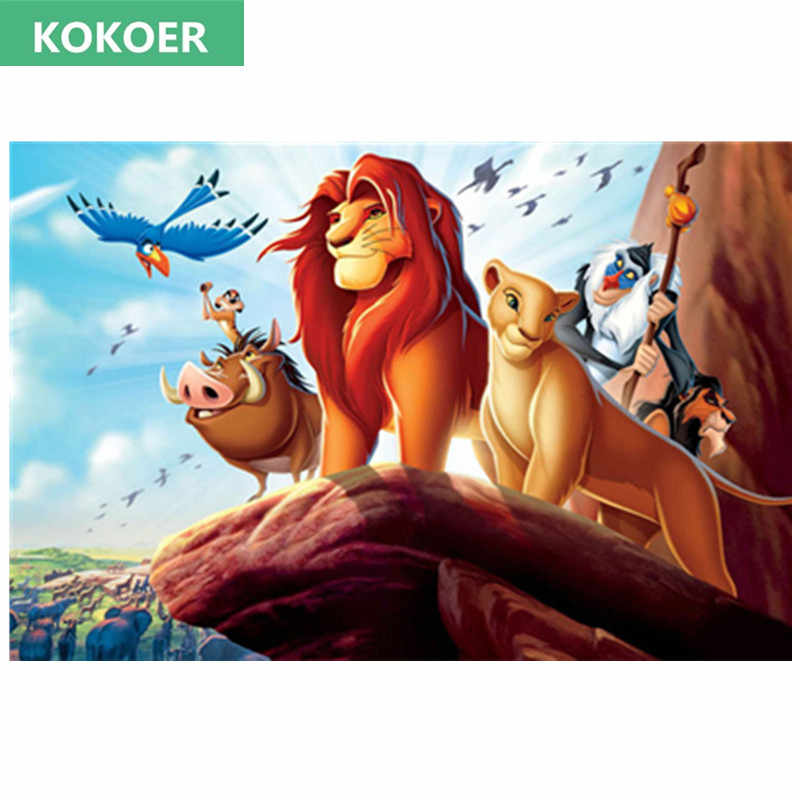 Kartun Diamant 5D Diy Berlian Lukisan Cross Stitch Lion King Simba Teman-teman Needlework Berlian Bordir Penuh Kit Dekoratif