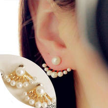 2016 Round Brincos New Hot Sale Lead-tin Alloy Earings Fashion Korean Small Imitation Pearl Earrings Dragon Hand Ear Cuff Stud(China)