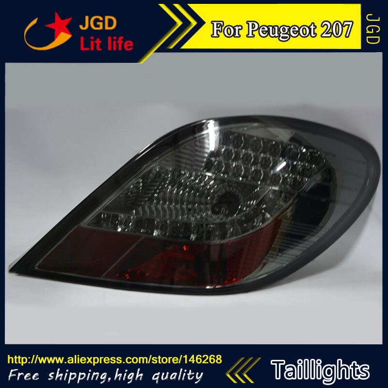 Car Styling tail lights for Peugeot 207 2006-2015 taillights LED Tail Lamp rear trunk lamp cover drl+signal+brake+reverse car styling tail lights for ford ecopsort 2014 2015 led tail lamp rear trunk lamp cover drl signal brake reverse