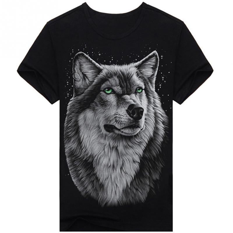 New 2019 Summer T-shirt Men 3d Print Wolf Short Sleeve T Shirts Casual Brand Men 100% Cotton Shirt Men Clothes Tops