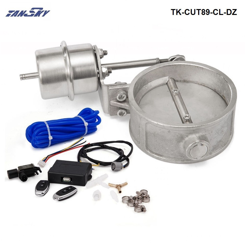 Exhaust Control Valve Set With Vacuum Actuator CUTOUT 89mm Pipe CLOSE STYLE W/Wireless Remote Controller TK-CUT89-CL-DZ exhaust control valve set cutout 3 76mm pipe close style with vacuum actuator with wireless remote controller set tk cut76 cl dz
