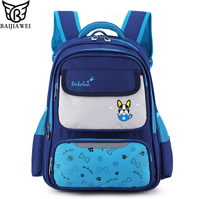 BAIJIAWEI Fashion Children's School Bag Pupils Large Capacity Backpack 8-12 Years Old Lightweight Water-proof Bags