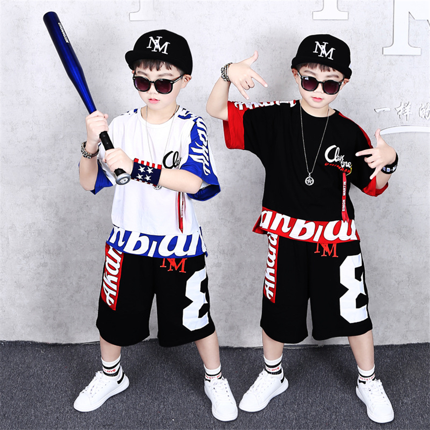 Children Jazz Modern Dance Costumes Loose Cool Hip Hop Ballroom Dancing Clothes Stage Boys Performance Streetwear Outfits