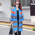 Women Sweaters 2016 New Autumn Winter Fashion Long Sleeve Striped Long Knitted Cardigans Casual Outwears Plus Size E160