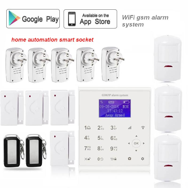 433mhz Wireless Android/IOS APP remote control home security wifi alarm system gsm sms with home automation smart socket ios apps app smart wireless burglar gsm home security alarm system with remote control smoke sensor sms