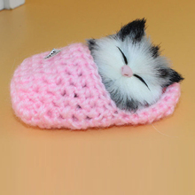 1pcs Lovely Press Meow Kitten Cute Small Cats Sleeping Or Sitting Slipper Funny Little Cat Sounding Toy  Home Car Office Decor