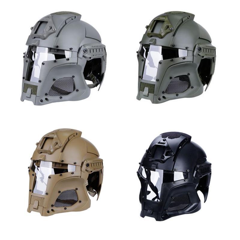 Tactique extérieur rétro casque fer guerrier solide Vintage escalade casque protecteur visage complet maille masque escalade casque