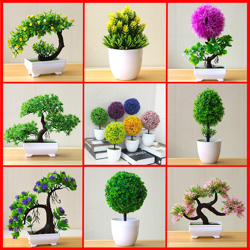 Artificial Plant Lotus Plant Potted Plastic Flower Table Top Ornaments Christmas Simulation Bonsai Craft Green Plant Decorative