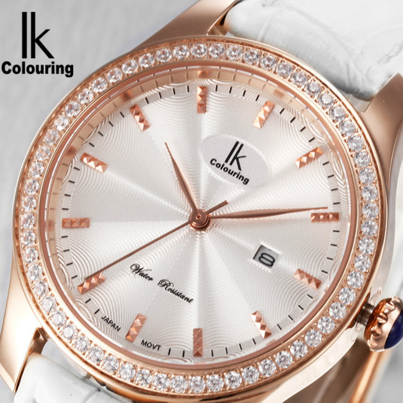 Ladies Quartz Watch Diving 100M Waterproof Sapphire Crystal Rhinestone Calendar Leather Casual Dress Women Wrist watches white ceramic bezel women watch design japan quartz diving waterproof genuine leather ladies watches with gift box