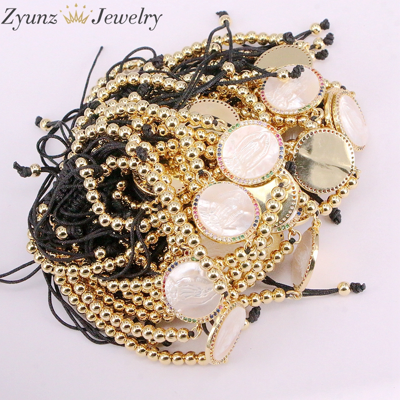 Image 4 - 5PCS, Micro Pave CZ Virgin Maria Mother of Pearl Shell Bracelet Adjustable Link Bracelet Women Jewelry-in Charm Bracelets from Jewelry & Accessories