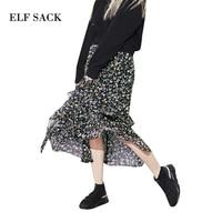ELF SACK 2018 Spring Women Chiffon Long Skirts Flowers Irrigular Skirt Womens Vintage Ruffle Skirts