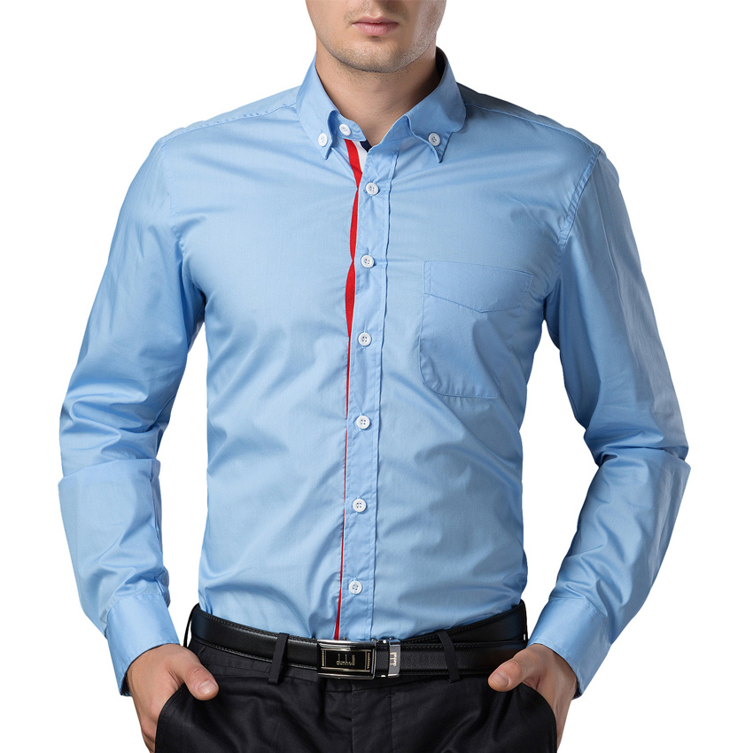 Blue long sleeve shirt men artee shirt for Men slim fit shirts