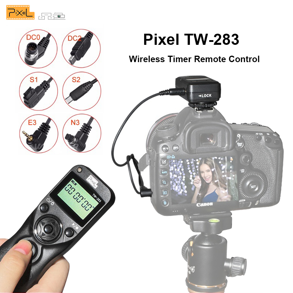 Pixel TW-283 Shutter Release Wireless Timer Remote Control For Canon Remote Sony Samsung Nikon d3400 d7200 d7000 d5300 Camera 1 2 lcd wired remote shutter release for nikon camera black