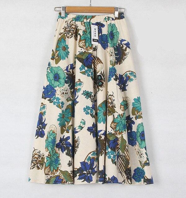 2016 Summer Casual Long Floral Print Women Cotton Linen Skirts QW060