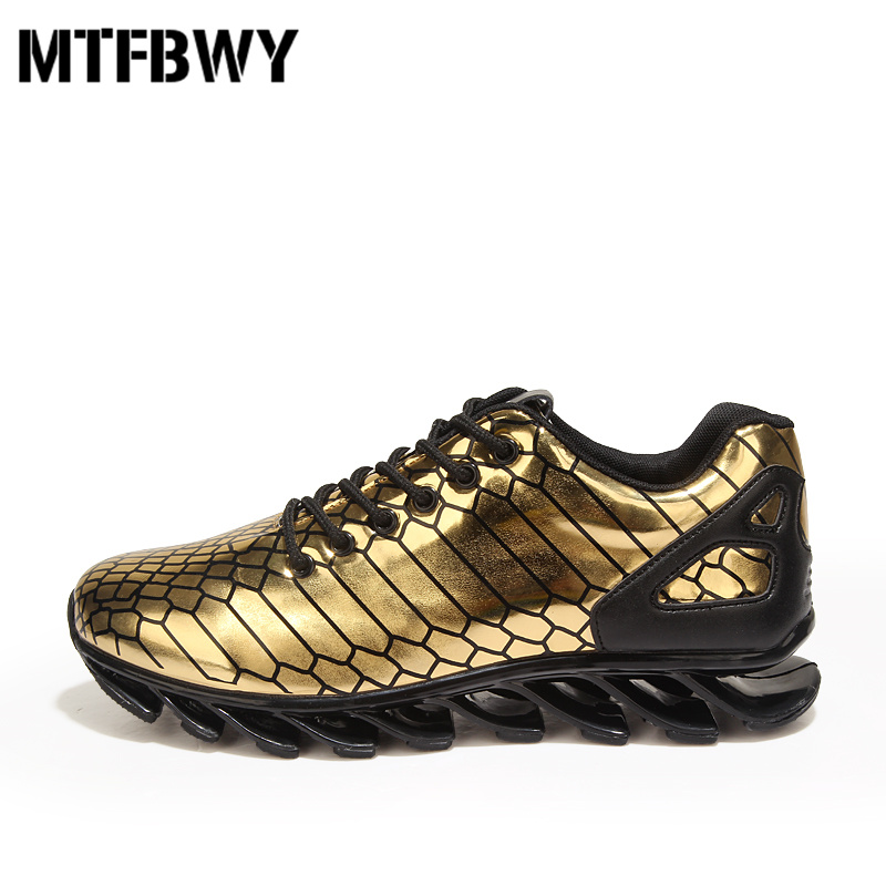 Mens running shoes blade design sole sport shoes lace-up breathable golden men sneakers size 39-44 b22s