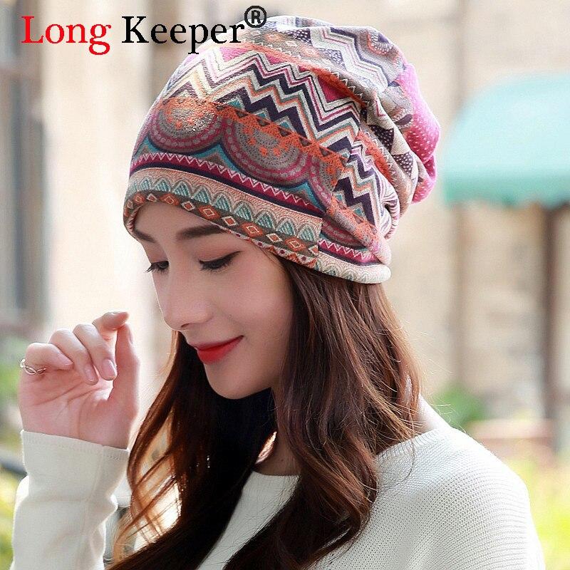 Long Keeper Free Shipping! Spring Autumn Winter Women Hat Scarf Fashion Wave Stripes Ladies Beanies Cotton Cap Circle Beanie