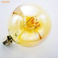 D'or et Clair G125 4 W led edison ampoule spirale dimmable lumière rétro lampe à économie vintage led filament ampoule