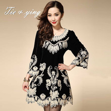 Vintage runway dress 2016 autumn new arrival high quality puls size women embroidery short dress beautiful O-neck long sleeve