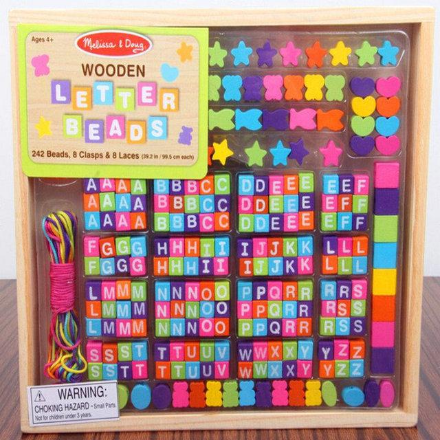 Frete Grátis para Crianças Joalharia Utilitários de madeira Contas de threading Blocos de cor, brinquedo da menina, blocos do alfabeto inglês