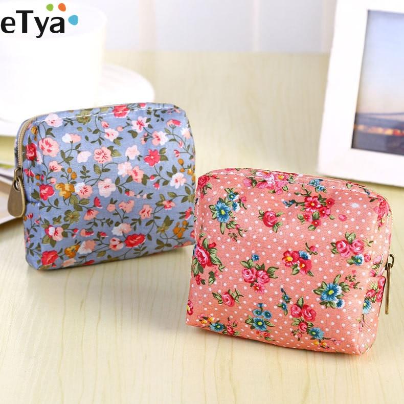 ETya Girl Small Coin Purse Wallet Women Coin Holder Bag Female Fresh Small Flower Zipper Clutch Coin Card Key Holder Case