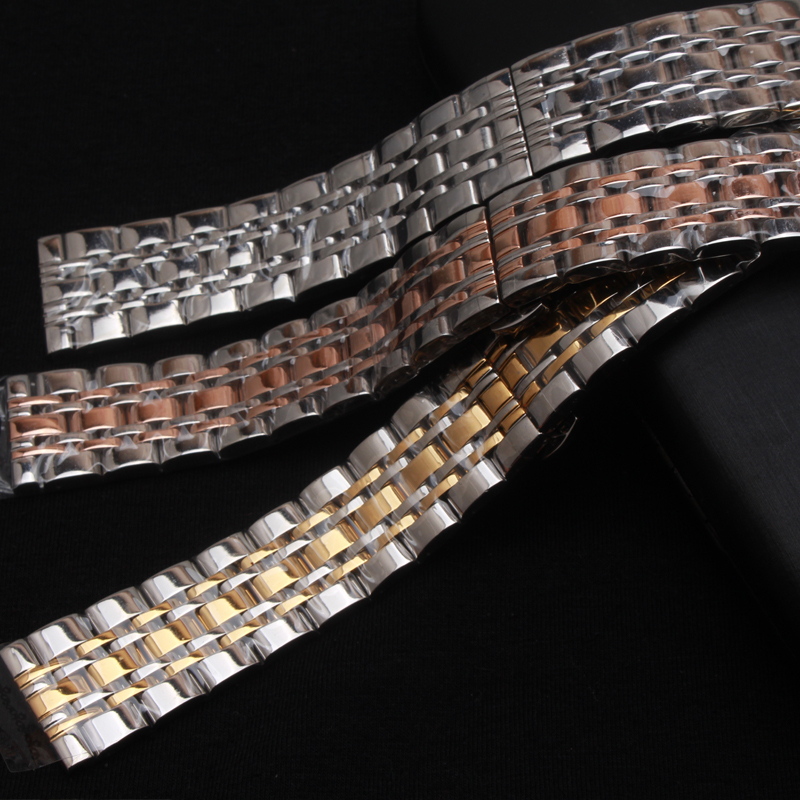 Solid Stainless Steel bracelet watch strap Metal Wristwatches Band pink gold silver Watchband belt butterfly clasp 18mm 20mm22mm top quality new stainless steel strap 18mm 13mm flat straight end metal bracelet watch band silver gold watchband for brand