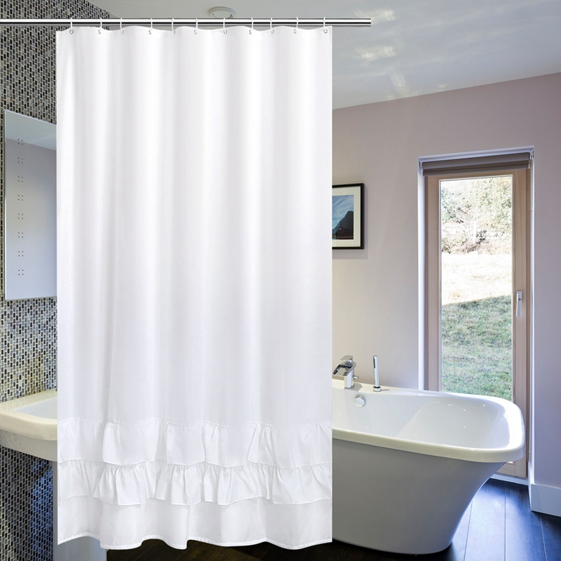 Luxury White Lace Shower Curtain Waterproof Mildew Thicken Bath Elegant Hotel Home Decoration Screens
