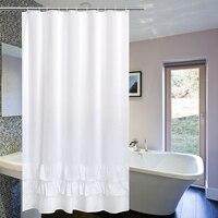 Luxury White Lace Shower Curtain Waterproof Mildew Thicken Lace Bath Curtain Elegant Hotel Home Decoration Bath Screens