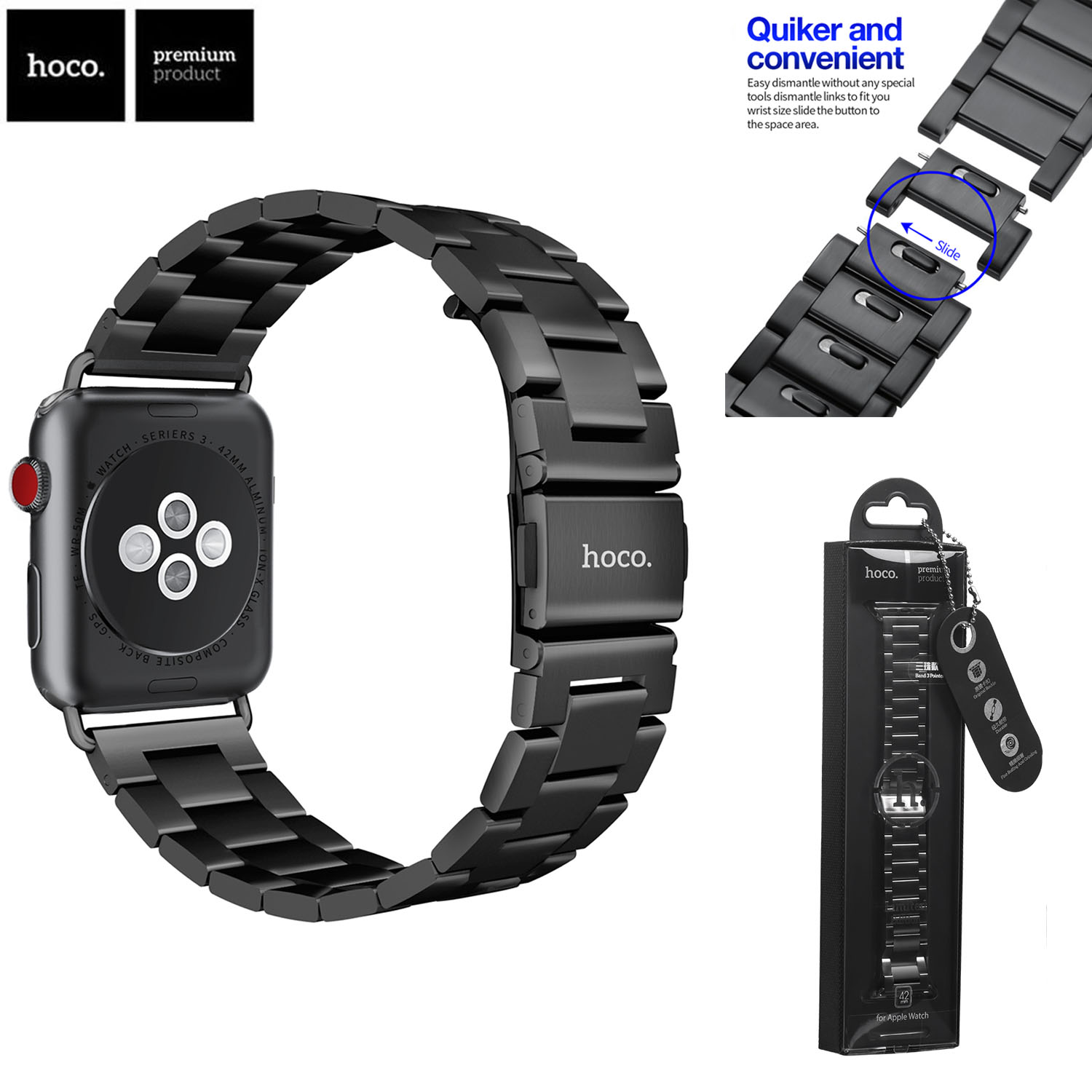 Original HOCO <font><b>Watch</b></font> Strap for <font><b>Apple</b></font> <font><b>Watch</b></font> Band Series 1 2 <font><b>3</b></font> 4 Stainless Steel Metal Watchbands for iWatch 38mm <font><b>42mm</b></font> 40mm 44mm image