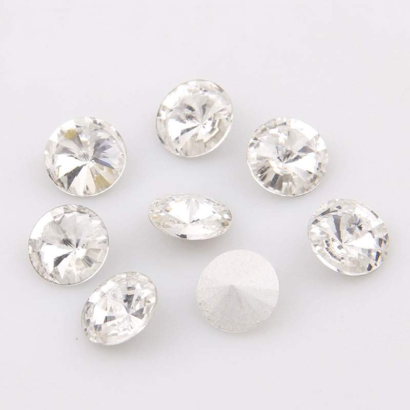 High Quality Round Rivoli Pointback Crystal Clear Glass Fancy Stone Rhinestone For DIY Wedding Dress Smykker Making