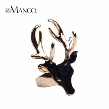 eManco men's rings black ladies enamel rings for women white color animals deer cuff rings jewellry Christmas gift