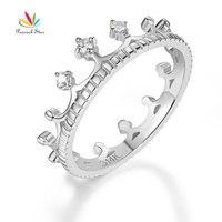 Peacock Star 14K White Gold Wedding Band Princess Crown Ring 0.04 Ct Diamond Fine Jewelry