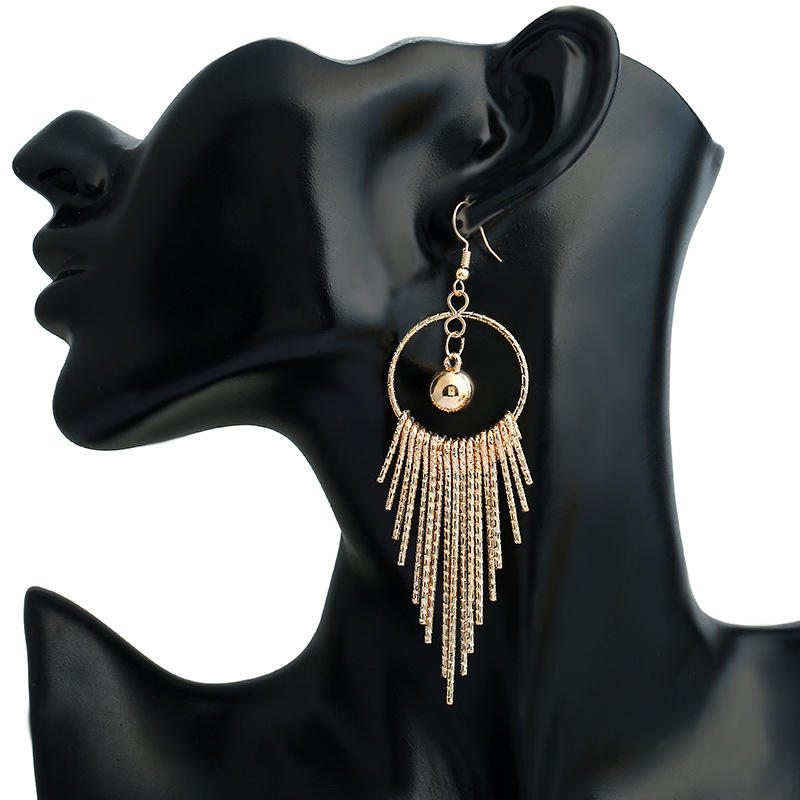 EK44 European American Exaggerate Big Round Swing Earrings For Women Geometric Shiny Tassel Long Drop Brincos Fashion Jewelry 1