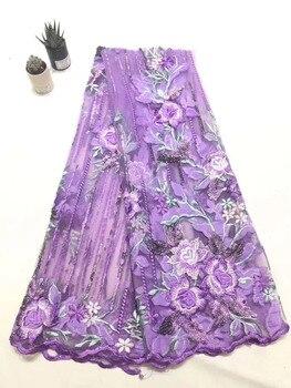 6bd36ebf0 Láser Cuttin cordón africano 2018 púrpura tela de encaje de lentejuelas de  alta calidad bordado encaje