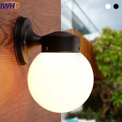 IWHD Glass Ball LED Wall Lamp Modern Waterproof Iron Wall Light Fashion White Black Wall Sconce Courtyard Staie Home Lighting