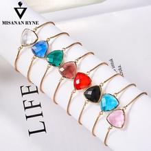 MISANANRYNE Fashion 30 colors Translucent color Bracelet for Women Austrian Crystal Heart Chain Wholesale