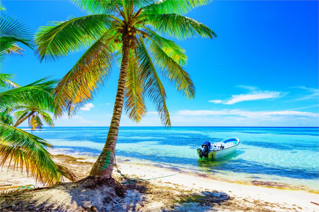 Home decoration sand sea beach the sun trees shore boat summer island paradise tropical Silk Fabric Poster Print MM629