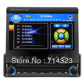 """1 DIN Detachable Panel In Dash Car Head Deck Unit DVD Player 7"""" Touch Screen Car Stereo Bluetooth Ipod TV USB SD MP3/4 RDS Radio"""