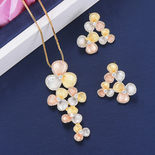 SisCathy Fashion Wedding Jewelry Sets Flower Shape Pendant Chains Necklace Stud Earrings Cubic Zirconia Inlaid Jewelry For Women недорого