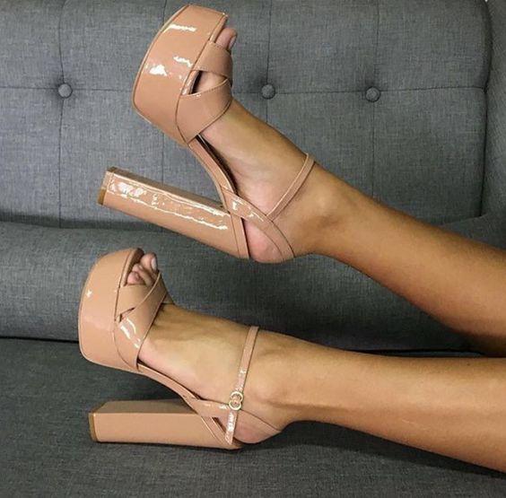 Moraima Snc Nude Patent Leder High Heel Sandalen Sommer Peep Toe Plattform Dicken Heels Schuhe Frau Ankle Strap Party Kleid schuhe