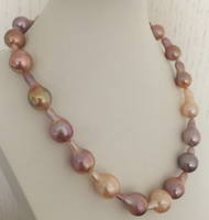 single strands 14 16mm south sea baroque multicolor pearl necklace 18inch 925s>>>women jewerly
