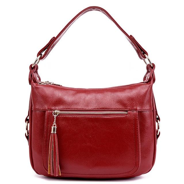 Fashion Lady Style Genuine Leather Women Tote Bag Handbags Women Messenger Shoulder Bag For Ladies Woman Bags Tassel Bags Bolsas