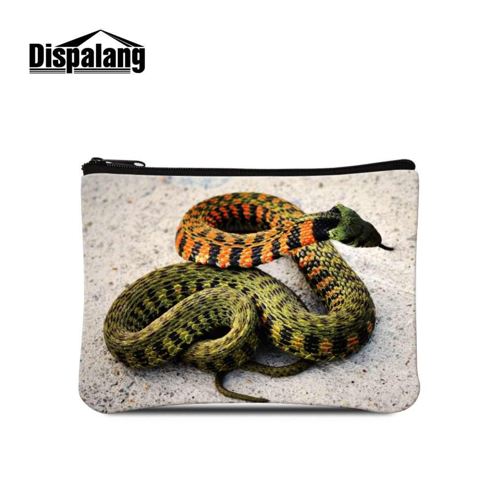 Dispalang Lovely Snake Printing Canvas Big Purse Note Girls Wallets Zipper Coin Bags Accessories Vintage Gift for Children's Day