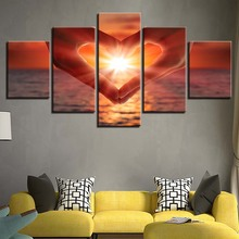 Wall Art Poster HD Printed Modern Canvas 5 Panel Sunrise Love Seaview Living Room Pictures Home Decor Modular Painting Frame цены