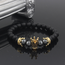 2019 New Black Matte Stone Pave CZ Imperial King Crown Charm Bracelet For Men Or Women Jewelry Pulseira hombres