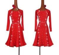 Shiny Rhinestone Latin Dancing Dresses For Ladies Red Elegant Latin Skirt Women Stage Ballroom Compete Feminine Costumes