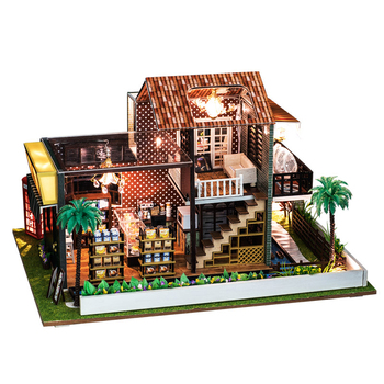 IIECREATE Wooden Diy Dollhouse Toy Miniature Box Puzzle Dollhouse Diy Kit Furniture Coffee Shop Model Gift Toy For Children