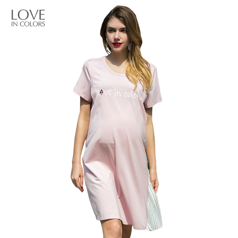 Loveincolors Maternity Women Dress Summer Letter Breastfeeding Soft For Pregnancy Women Clothes