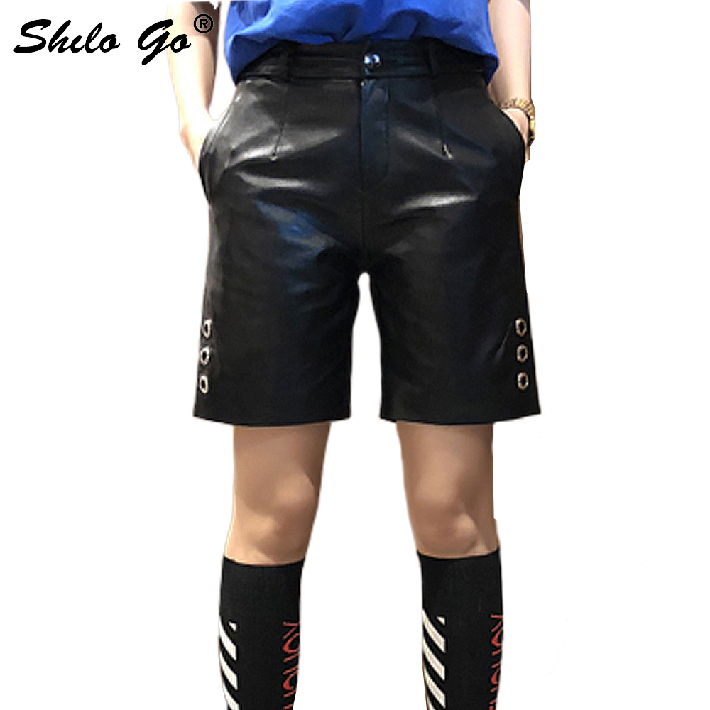 Leather Shorts Womens Spring Fashion Sheepskin Genuine Leather Shorts High Waist Side Round Rivet Casual Straight Short