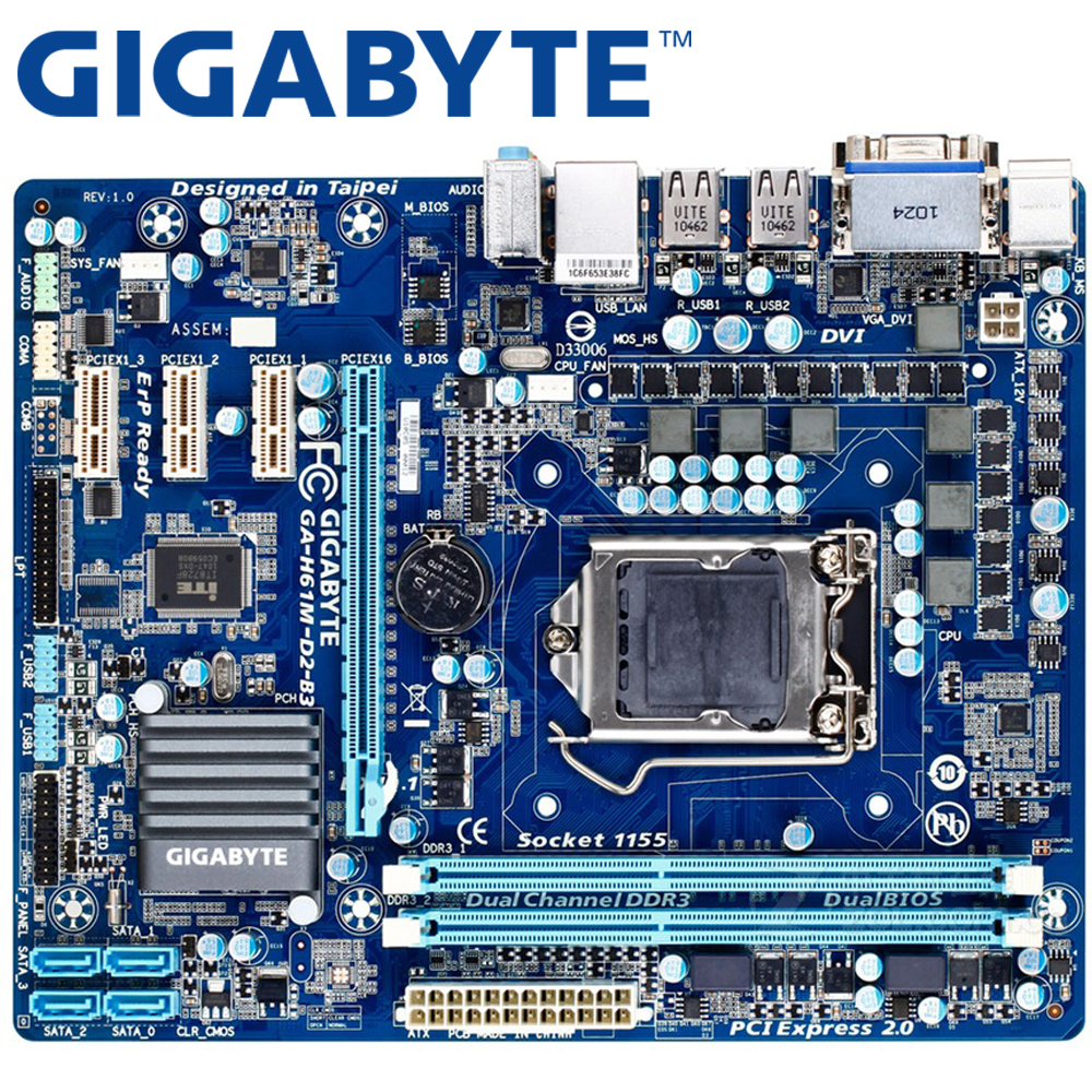 GIGABYTE GA-H61M-D2-B3 Desktop Motherboard H61 Socket LGA 1155 i3 i5 i7 DDR3 16G u ATX Original H61M-D2-B3 Used Mainboard asus p8h61 plus desktop motherboard h61 socket lga 1155 i3 i5 i7 ddr3 16g uatx uefi bios original used mainboard on sale