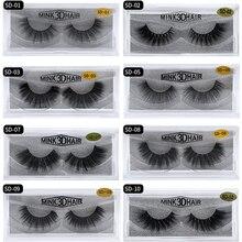 3Pairs per lot 3D mink false eyelashes natural long full srrip lashes hand made hight quality